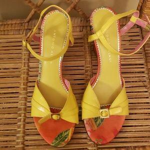 Antonio Melani yellow hawaiian wedge heels